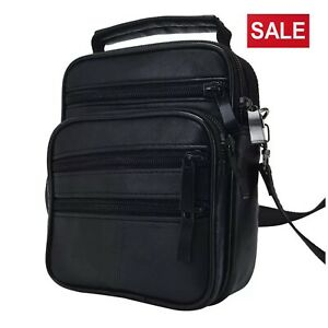 Men-039-s-Leather-Messenger-Bag-Cross-Body-Shoulder-Utility-Travel-Work-Bag-Black
