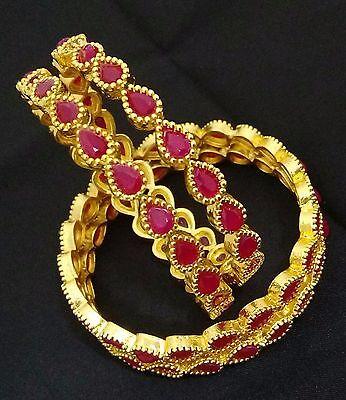 Latest Indian Bollywood Designer 18K Ruby Drop Shape Bridal 4p Bangle Bracelet
