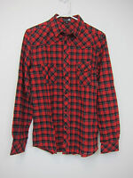 Boohoo Checked Button Through Shirt - Mens Medium - Red + Black -