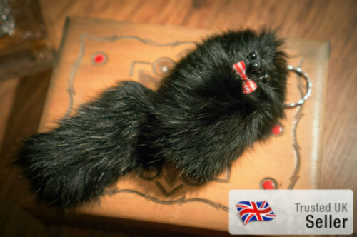 UK SALE Super Fluffy Soft Toy Animal Fur Keyring Ferret Retro Fox Gift Vintage