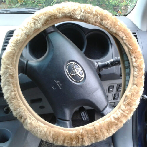 Sheepskin Steering Wheel Cover Beige