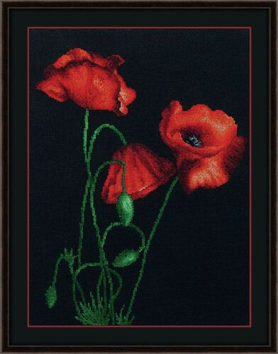 Bead embroidery Poppies Red Wall Hanging Artwork DIY beading kit