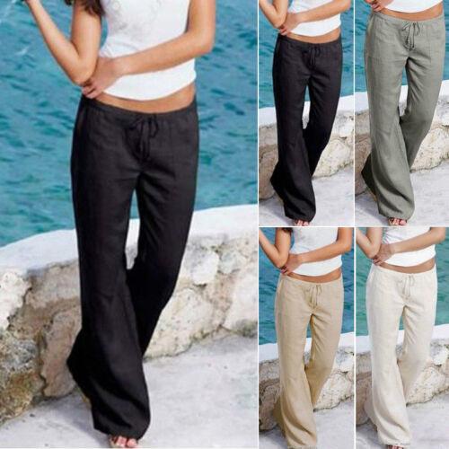 Women Loose Stretch High Waist Wide Leg  Thin Pants Summer Trousers Sz S