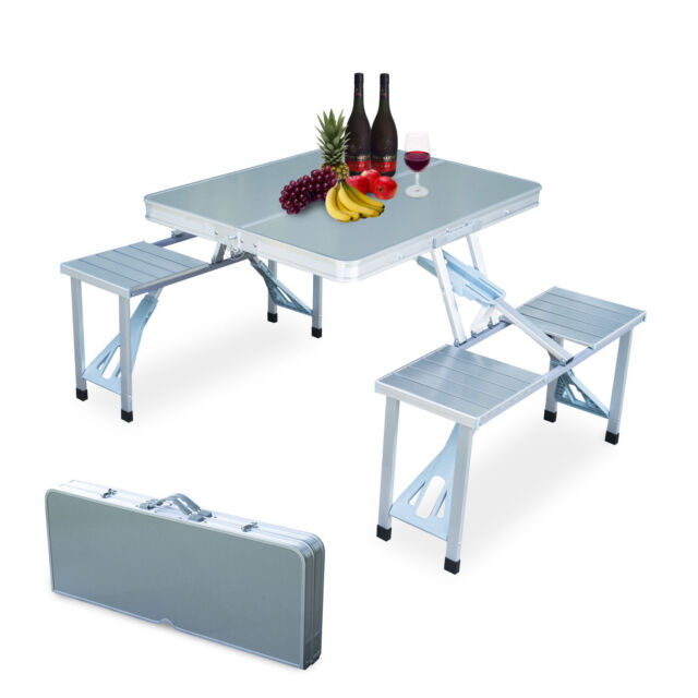 Portable Folding Picnic Table.New Outdoor Garden Aluminum Portable Folding Camping Picnic Table With 4 Seats