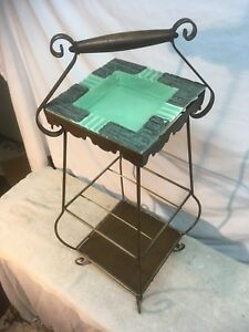 Vtg-Metal-Wire-Mesh-Atomic-Mid-Century-2-Tier-Telephone-Magazine-Smoking-Stand