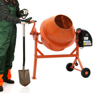 Details about Electric Cement Concrete Mixer 63L 220W Mortar/Stucco/Seed  Mixing Barrow Machine
