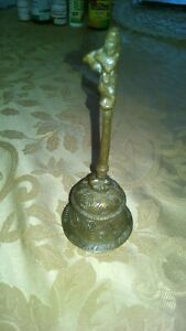 ANTIQUE-BRASS-BELL-WITH-A-GOD-OR-WARRIOR-ON-TOP-HANDLE