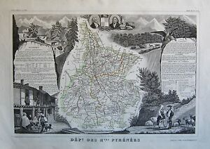 1856 DECORATIVE ANTIQUE MAP LEVASSEUR- DEPT DES HAUTES PYRENEES,TARBES