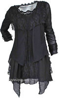 Pretty Angel Clothing Rain Curvy Size Layered Vintage Blouse In Black 10552