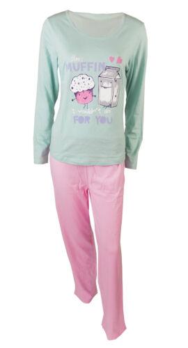 Ladies Pj Set Nightwear Pink//Green muffin print 100/% Cotton S62