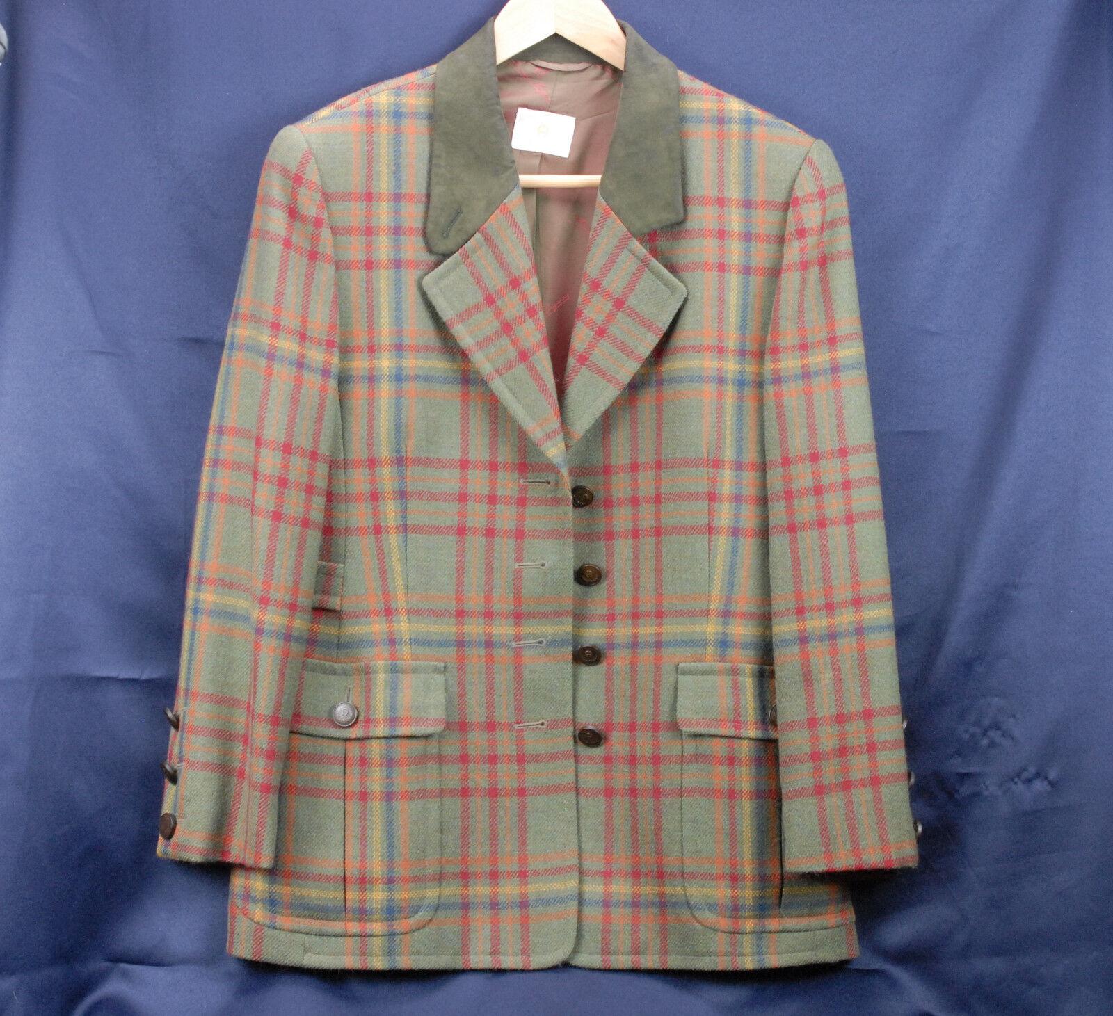 Etienne Aigner Ladies 100% Lambswool Ridding Blazer Green Plaid 4 Button Size 38