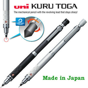 Uni-Kuru-toga-Mechanical-pencil-0-5mm-roulette-Gun-Metallic-or-Silver-barrel