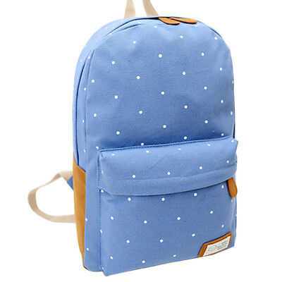 Women Canvas Rucksack Polka Dot Backpack School Bookbag Shoulder Bag Travel Bags