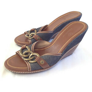 Shoes-Sandals-W-039-s-9-Cole-Haan-Wedge-4-034-Heels-Brown-Leather-Brazil-Denim-Chain