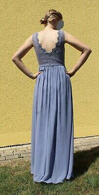 Abendkleid; Abiball, Hochzeit, Ballkleid, lang grau-blau ...