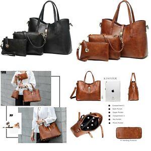 3 Pcs Women Wallet Leather Handbag Shoulder Bag Satchel Messenger Purse Tote Set