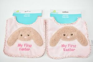2-pack of Baby Pink Bibs My First Easter with Bunny Rabbit Lot of 2 New
