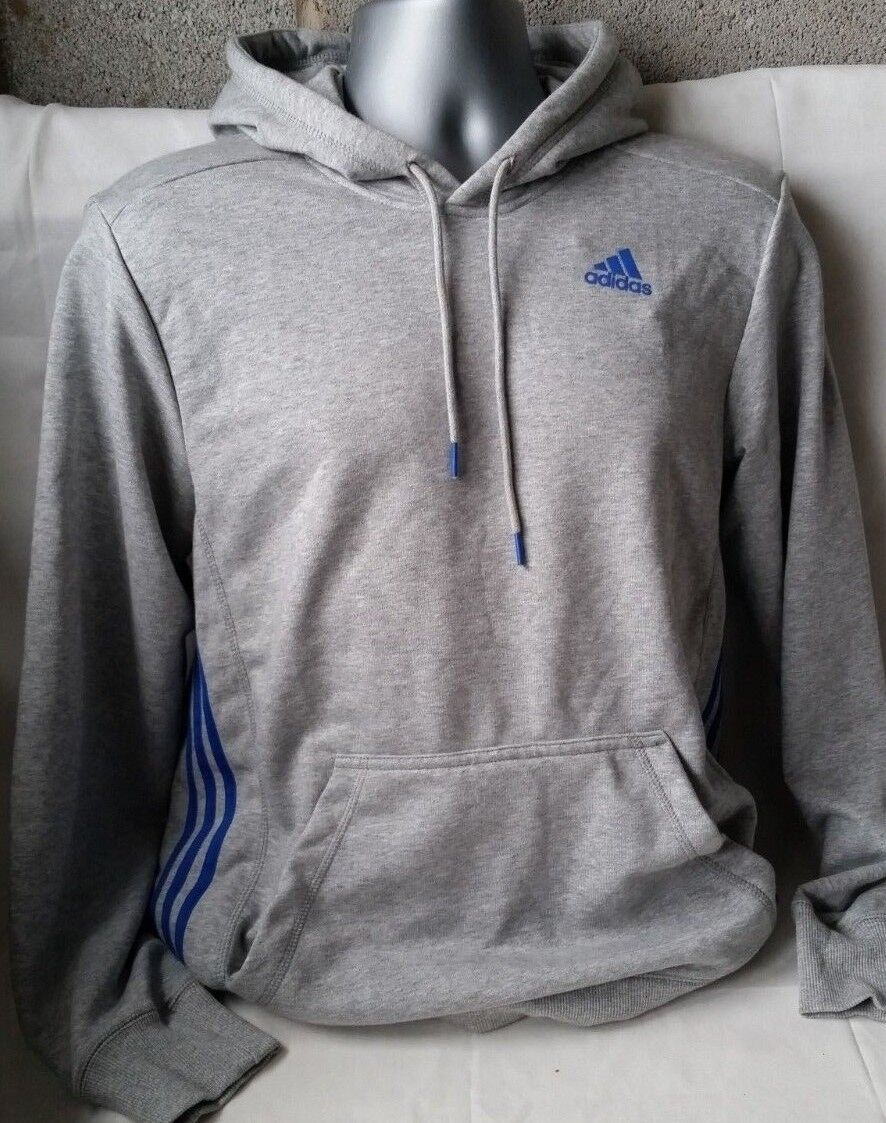 NEW Adidas Essentials Essentials Essentials 3 Stripe Logo Full Zip Hoodie Mens Sports Top Small A222-8 | Große Ausverkauf