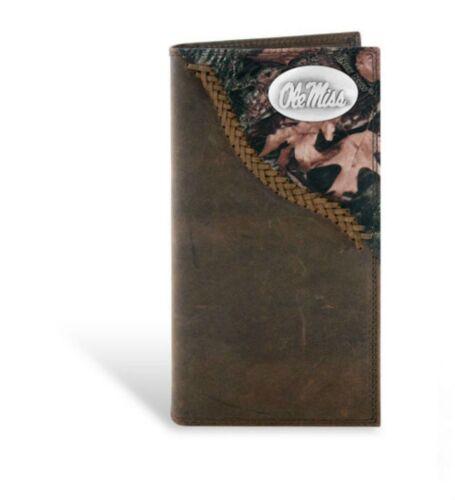 ZEP-PRO Ole Miss Genuine Leather Long Roper CAMO Wallet Checkbook w//gift box