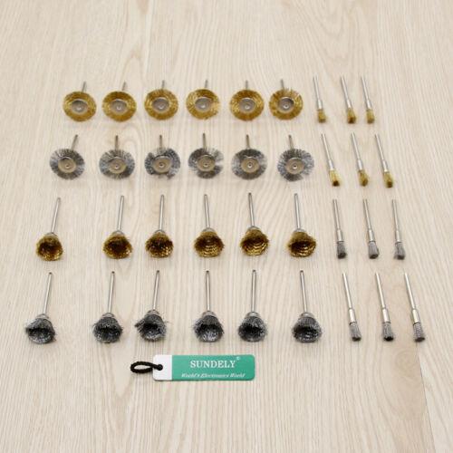 NEW 36pcs 3.175mm Shank Copper Steel Wire Polishing Wheel Brush for Dremel