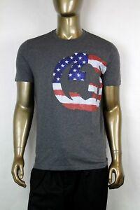 07d7bf1ac3e80e Gucci Men s Dark Gray t-shirt w center Inner Locking GG USA flag S ...