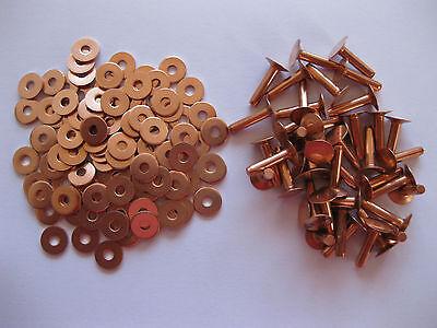 Copper hose saddlers rivets 10 Gauge x 1/4 with washers leather belt bag crafts