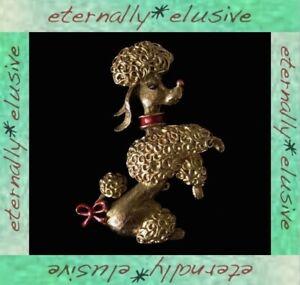 GERRYS Signed Designer Rare Red Enamel Golden Poodle Dog Brooch Pin 50s Vintage