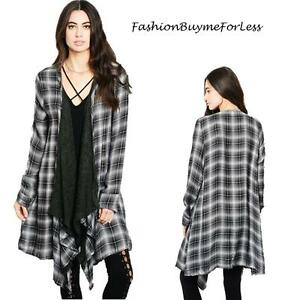 BOHO Black Cascade Drape Open Front Check Plaid Duster Cardigan ...