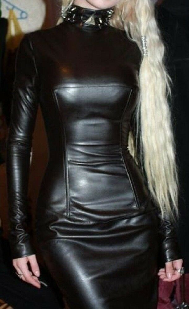 Women Genuine Lambskin leather Dress Party sexy Lady Club fashion Wear - LTWD007