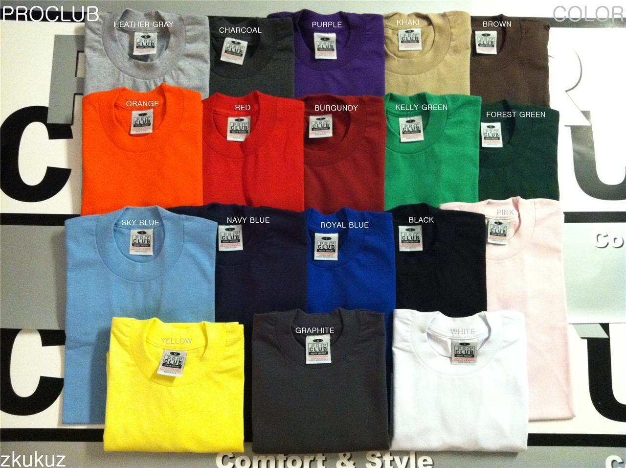 12 NEW PROCLUB HEAVY WEIGHT T-SHIRT COLOR PLAIN PRO CLUB TEE BLANK 4XL-5XL 12PC