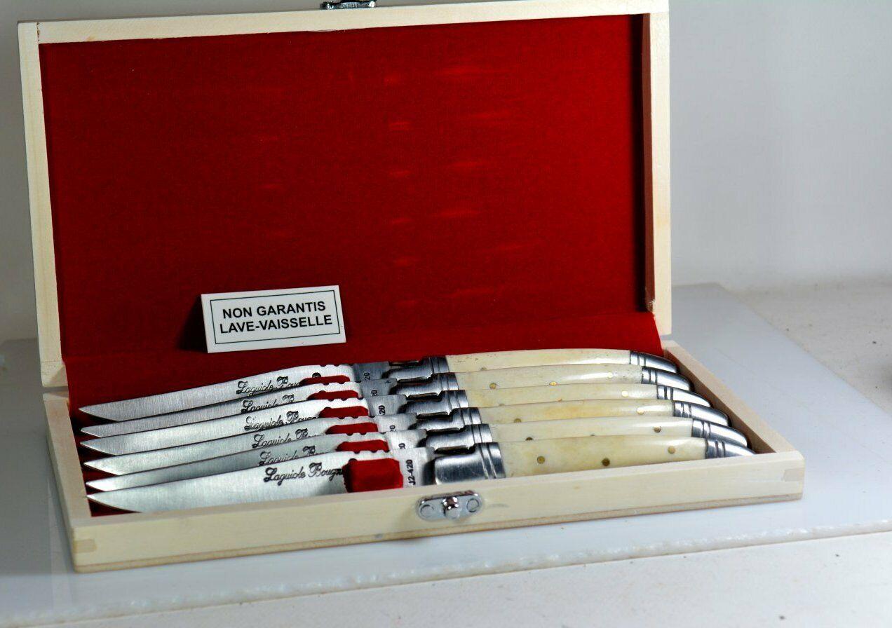 Coffret 6 Couteaux de Table LAGUIOLE Bougna OS Blanc (buffle) Mitres Inox Neuf A