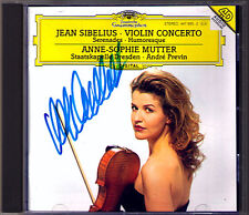 Anne-Sophie MUTTER Signed SIBELIUS Violin Concerto Serenade Humoresque CD PREVIN