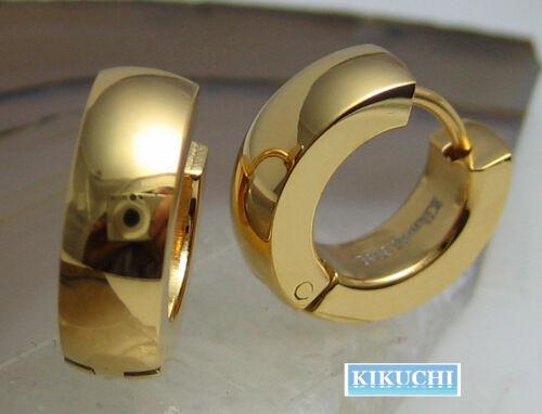 Edelstahl Ohrringe 24k Gold IP 15mmØ Damen Herren Creolen poliert glänzend Hoop