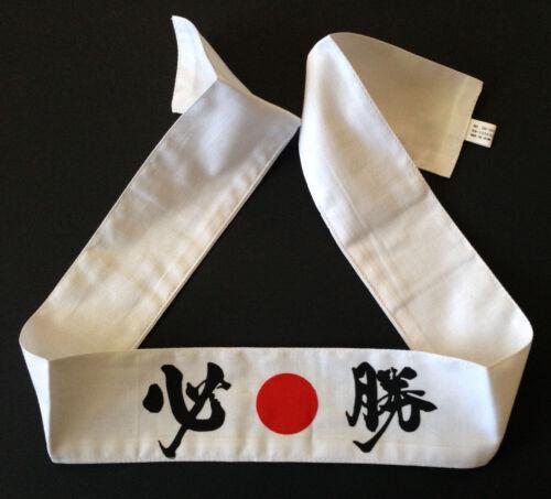 Japanese Martial Arts Sports Hachimaki Headband Red White 15 Kanji Made in Japan