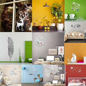 Wall-Sticker-Removable-3D-Mirror-Animal-Decal-DIY-Home-Room-Art-Mural-Decor
