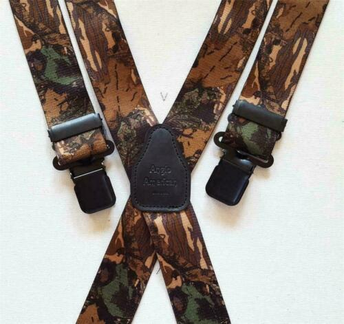 """Mens Braces Heavy Duty 1.5/"""" or 2/"""" Camo Camoflauge Fishing Trousers Black Clips"""