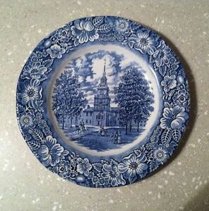 Staffordshire-LIBERTY-BLUE-ironstone-DINNER-PLATE-Independence-Hall-transferware