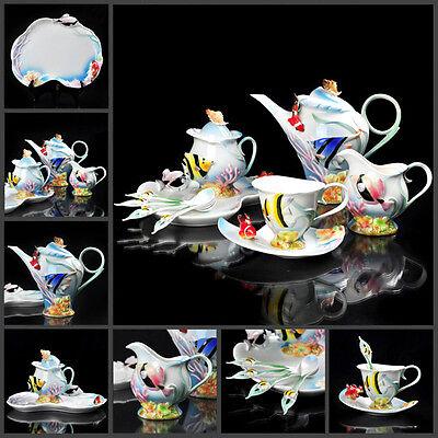 16PCS Tropical Fish Ceramic Porcelain Coffee Tea Set Platter Creamer Sugar Pot
