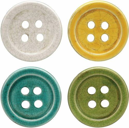 Terracotta Button Coasters Ceramic Vintage Look Great Gift! Pick your color