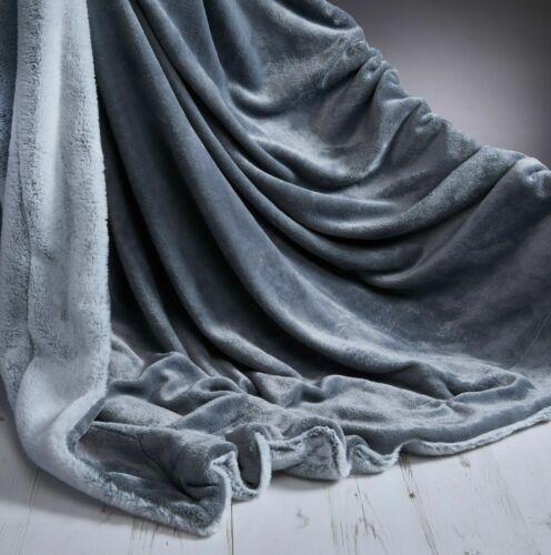 Rabbit Faux Fur Throws Super Soft Plush Blankets Warm Bed Tip Dyed 150 x 200 cm