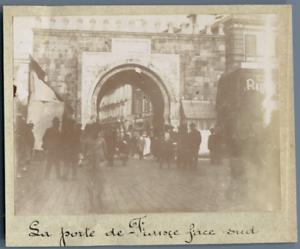 Tunisie-Tunis-La-Porte-de-France-face-sud-Vintage-citrate-print-Phot
