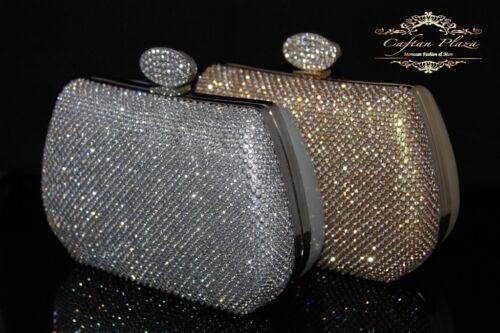 Luxus Clutch Silber Abendtasche Brauttasche Strass Edel NEU bling bling Elegante