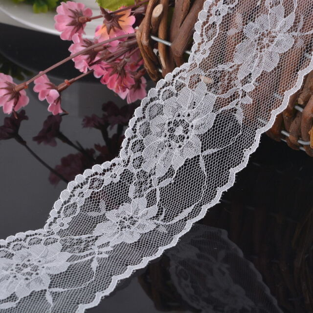 10Yards 6.5cm White Mesh Fabric Lace Trim Inelastic Embroider Sewing Supplies