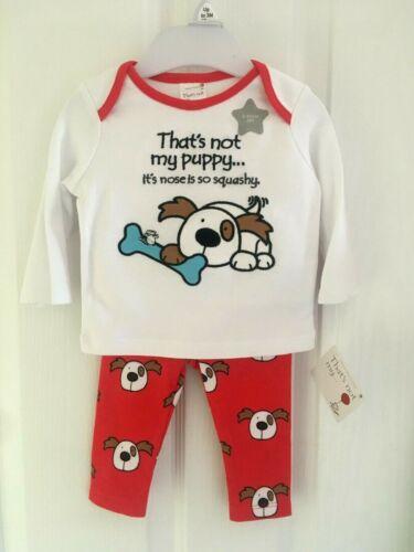 BNWT Baby Girls Boys Red Cotton Puppy Dog Usbourne Book Pyjamas Pjs Set 0-1 Mth