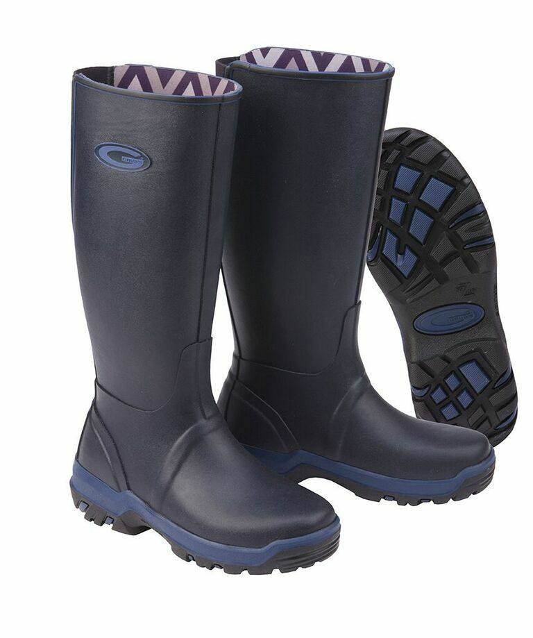 Grubs Rainline Wellington Boots In Navy Size 5 with Trax sole