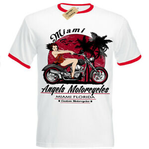 Angels-Motorcycles-T-Shirt-pinup-Biker-motorcycle-sexy-miami-florida-Mens-RInger