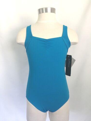 Black SO DANCA Girls Microfiber Asymmetrical Back Strap Leotard Blue Red NWT