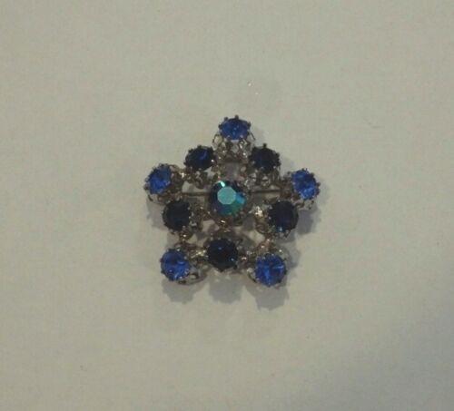 Vintage Blue Rhinestone Star Snowflake Pin Brooch