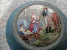 Antique Enamel Victorian Powder Puff Music Box Horse Boat Ladies Blue Metal