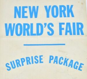 RARE-1939-New-York-039-s-Worlds-Fair-Unused-Surprise-Package-White-Bag-Blue-Letters